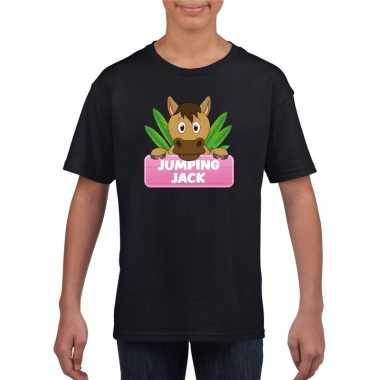 Dieren shirt zwart paard jumping jack voor meisjes