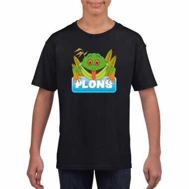 Dieren shirt zwart plons de kikker voor kinderen