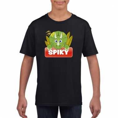 Dieren shirt zwart spiky de dinosaurus voor kinderen