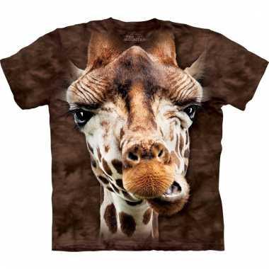 Dieren shirts kinderen giraf bruin