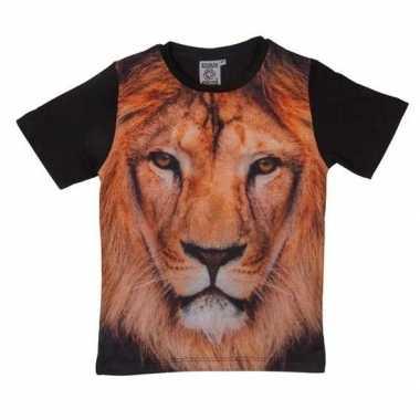 Dieren shirts met fotoprint van leeuw voor kinderen