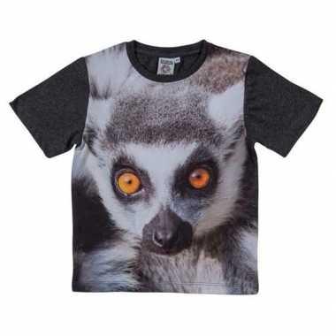 Dieren shirts met fotoprint van ringstaart maki aap voor kinderen