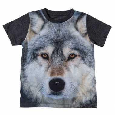 Dieren shirts met fotoprint van wolf voor kinderen
