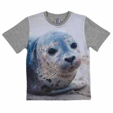 Dieren shirts met fotoprint van zeehond voor kinderen