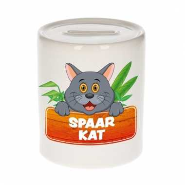 Dieren spaarpot grijze kat / poes 9 cm