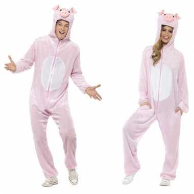 Dieren verkleed jumpsuit onesie varken voor kids