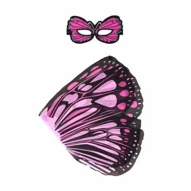 Dieren verkleedset monarchvlinder roze