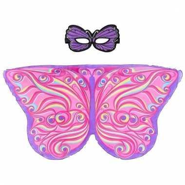 Dieren verkleedset paar roze vlinder