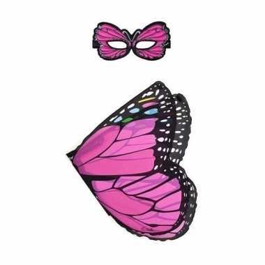 Dieren verkleedset vlinder roze