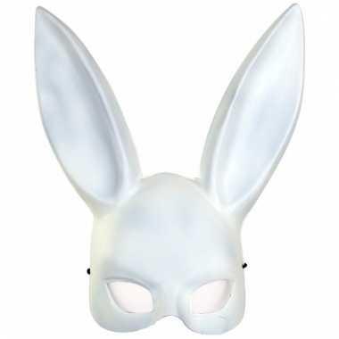 Dierenmasker konijn/haas wit voor volwassenen