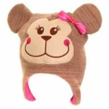Dierenmuts aapje voor meisjes roze