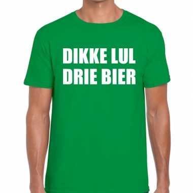 Dikke lul drie bier tekst t-shirt groen heren