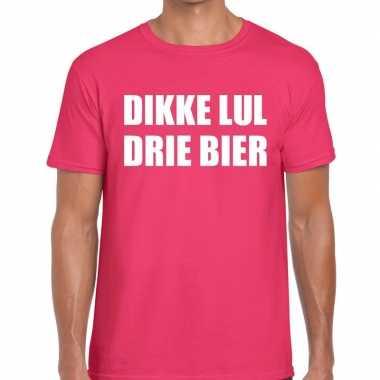 Dikke lul drie bier tekst t-shirt roze heren