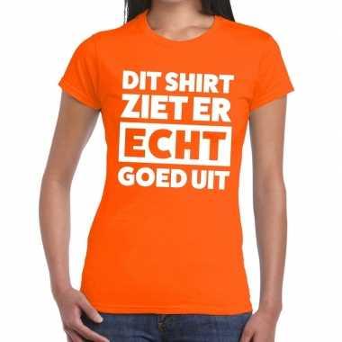 Dit shirt ziet er echt goed uit t-shirt oranje dames