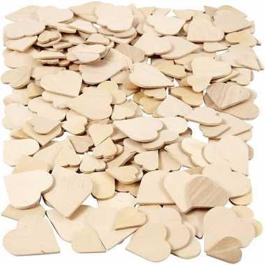 Diy houten hartjes 60 stuks
