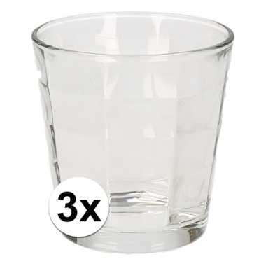 Drinkglazen set kubus 240 ml 3 stuks
