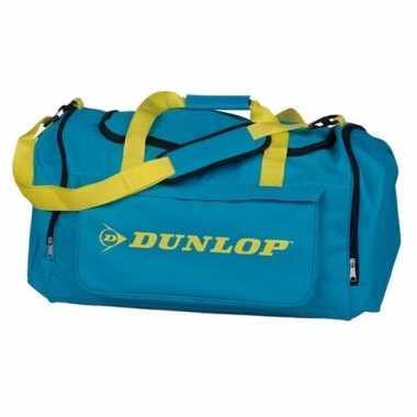 Dunlop weekendtassen turquoise met geel