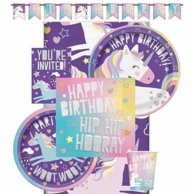 Eenhoorn hip hooray kinderfeest/themafeest pakket 8 personen