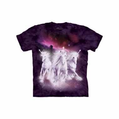 Eenhoorn t-shirt paars gekleurd