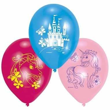 Eenhoorn thema ballonnen 6 stuks