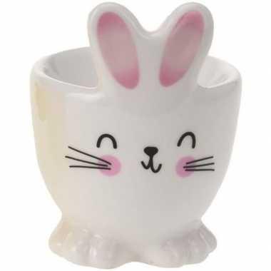 Eierdopje witte paashaas/konijn 7 cm