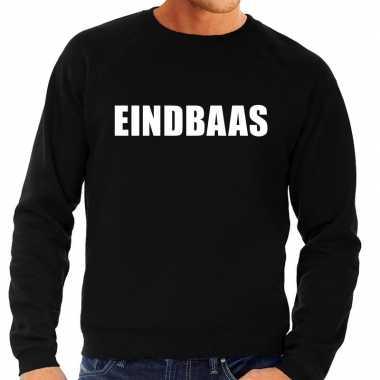 Eindbaas tekst sweater / trui zwart voor heren