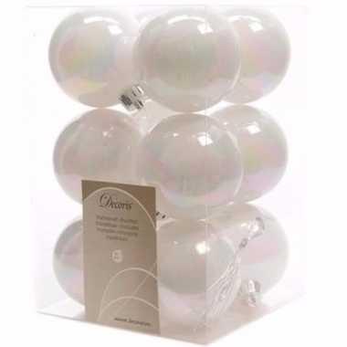 Elegant christmas witte kerstversiering kerstballen pakket 12 stuks