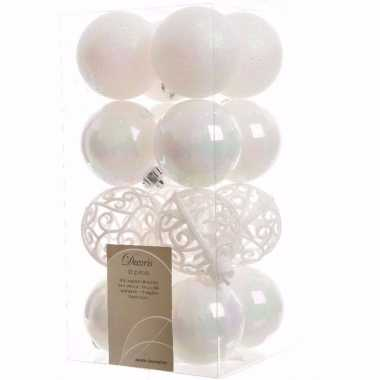 Elegant christmas witte kerstversiering kerstballen pakket 16 stuks