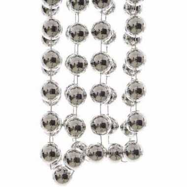 Elegant christmas zilveren kerstversiering grote kralenslinger 270 cm