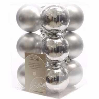Elegant christmas zilveren kerstversiering kerstballen pakket 12 stuk