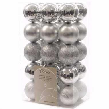 Elegant christmas zilveren kerstversiering kerstballen pakket 30 stuk