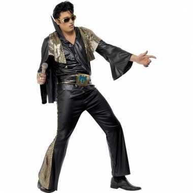 Elvis heren kostuum zwart/goud