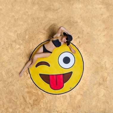 Emoji knipoog strandhanddoeken 150 cm