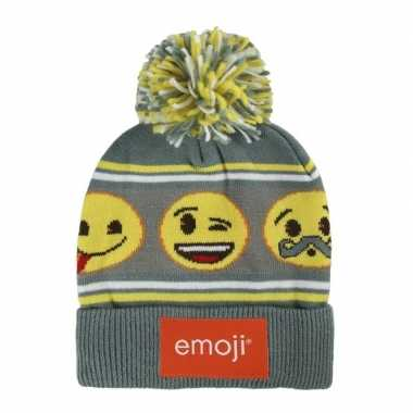 Emoticon wintermuts met pompon voor jongens