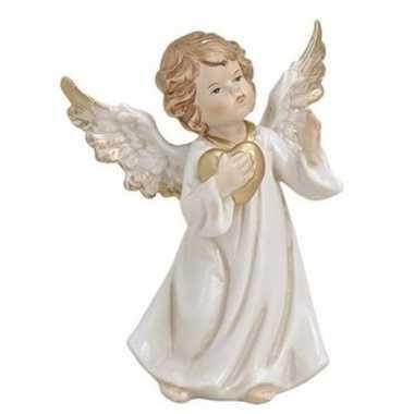 Engelen figuur wit met gouden hart 9 cm