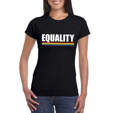 Equality shirt zwart met regenboog vlag dames