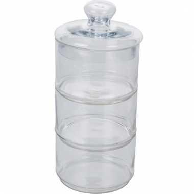 Etagere met deksel van glas 35 cm