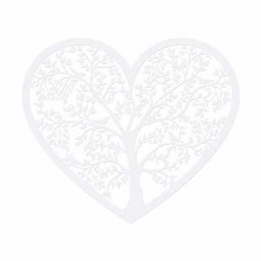Etalage decoratie harten wit 13 cm