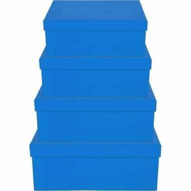 Etalage versiering blauwe cadeauverpakking doosje 8 cm