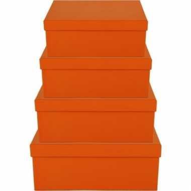 Etalage versiering oranje cadeauverpakking doosje 17 cm