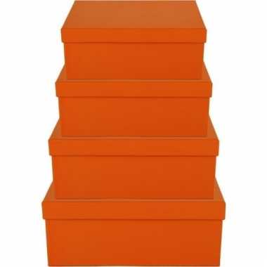 Etalage versiering oranje cadeauverpakking doosje 8 cm
