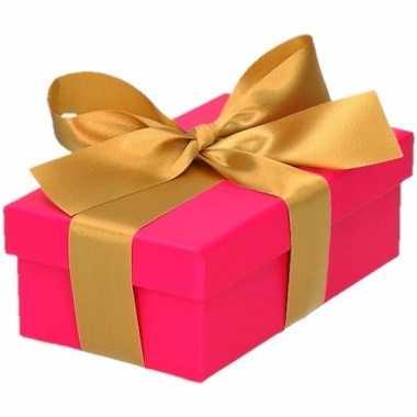 Etalage versiering roze cadeauverpakking doosje met goud strikje 10 c