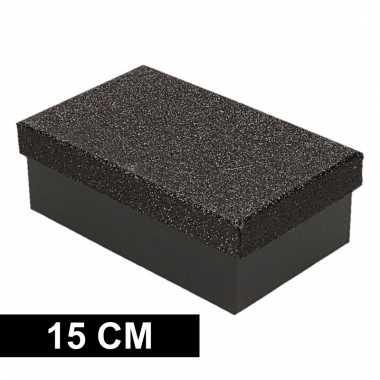 Etalage versiering zwarte cadeauverpakking doosje 15 cm
