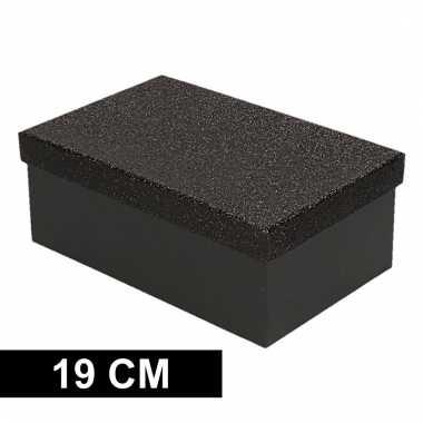 Etalage versiering zwarte cadeauverpakking doosje 19 cm
