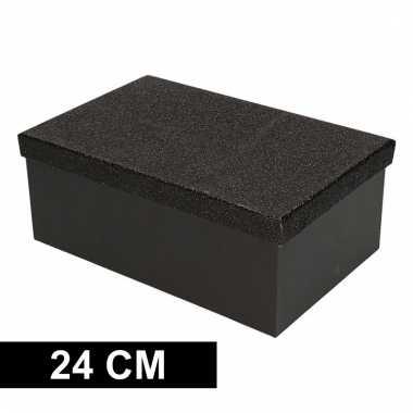 Etalage versiering zwarte cadeauverpakking doosje 24 cm