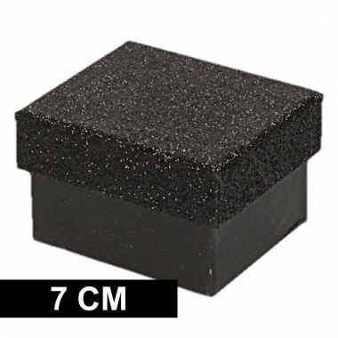 Etalage versiering zwarte cadeauverpakking doosje 7 cm