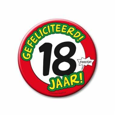 Extra grote button 18 jaar stopbord 10 cm