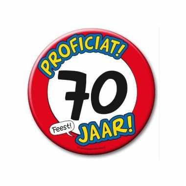 Extra grote button 70 jaar stopbord 10 cm