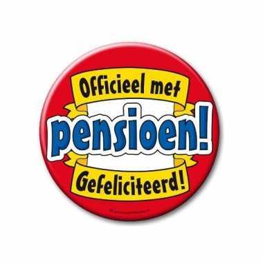 Extra grote button officieel met pensioen 10 cm