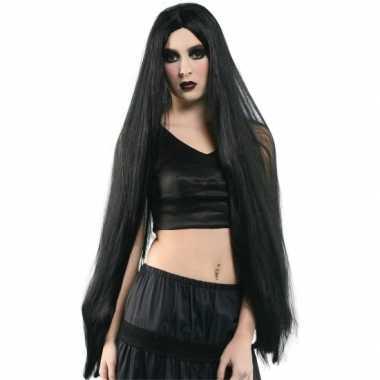 Extra lange dames heksen pruik zwart